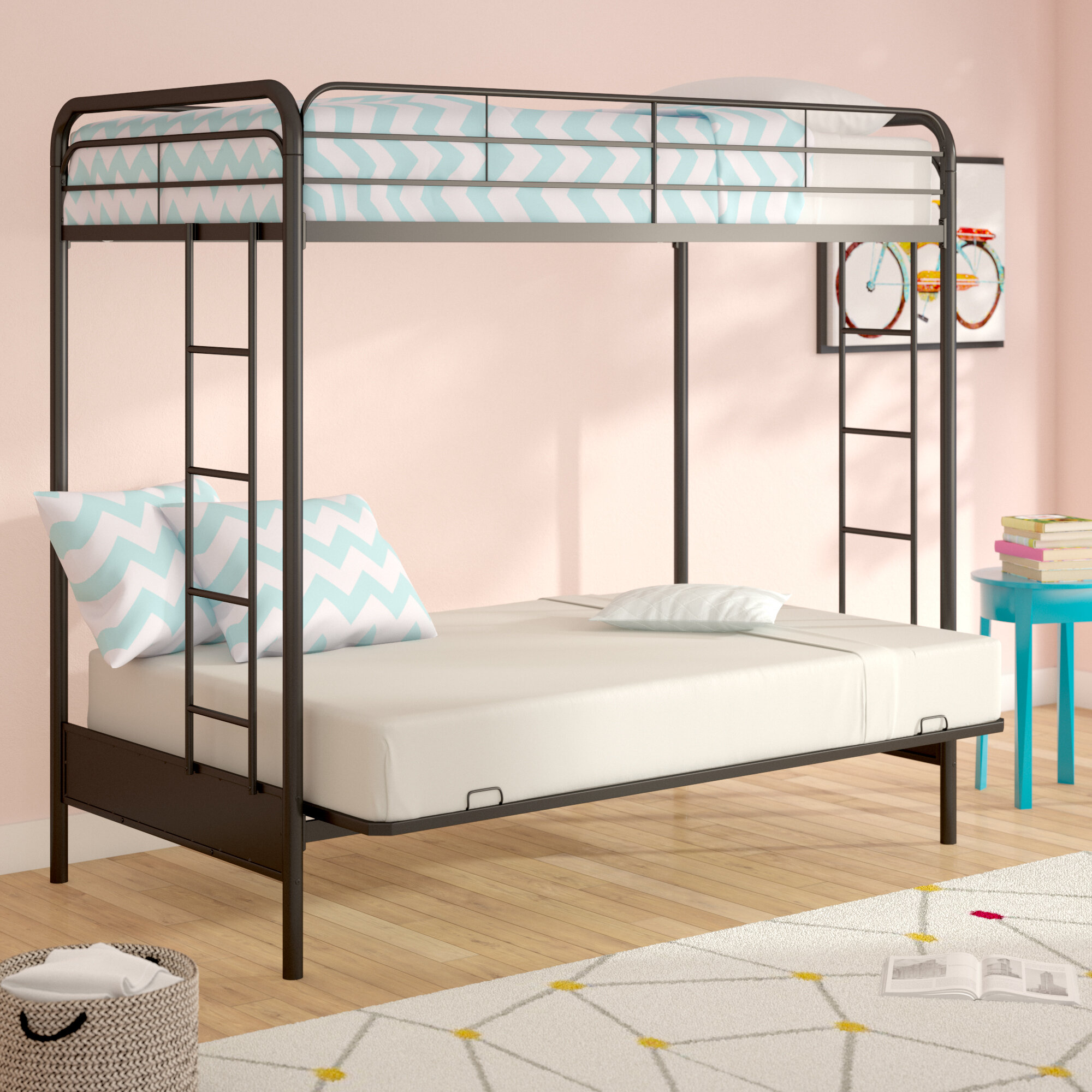 Viv Rae Sanders Twin Over Full Futon Bunk Bed Reviews Wayfair