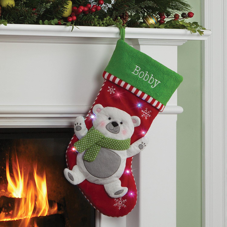Bear Christmas Stocking.Polar Bear Led Personalized Stocking