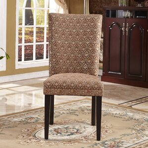 elegant damask parsons chair set of 2