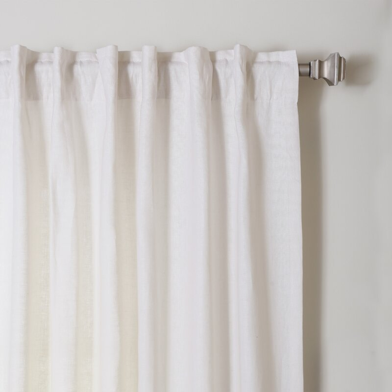 Semi Sheer Curtains For Kitchen Curtain Linen Textured: Best Home Fashion, Inc. Natalie Natural Linen Solid Semi
