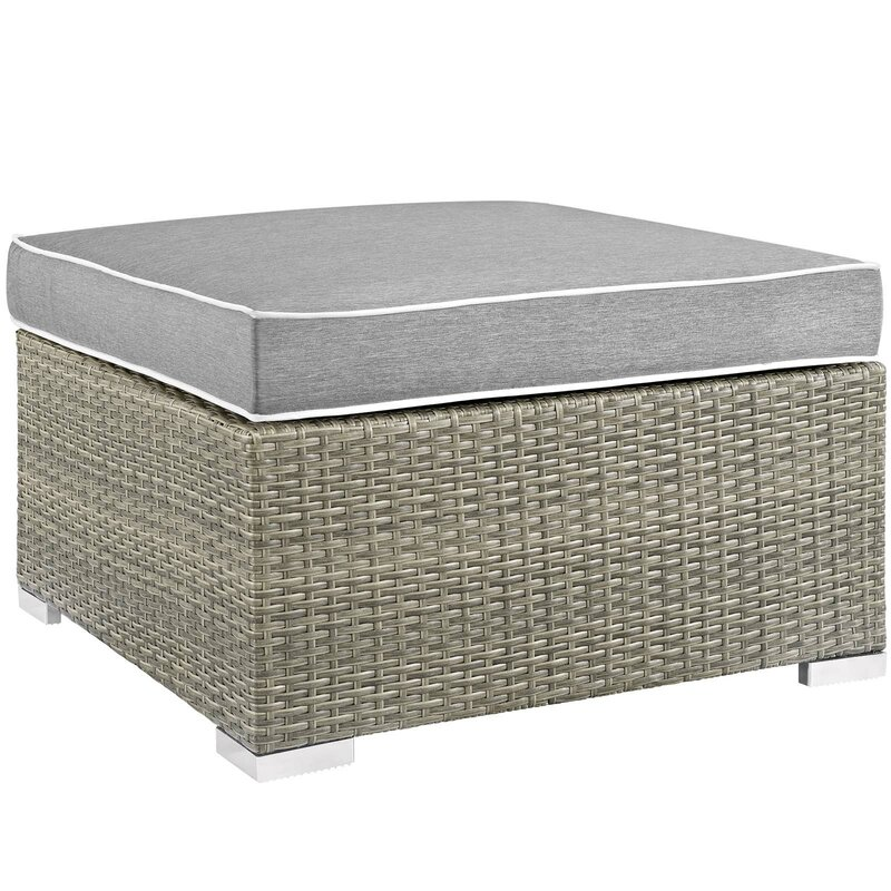 Heinrich Outdoor Upholstered Fabric Patio Ottoman With Cushion