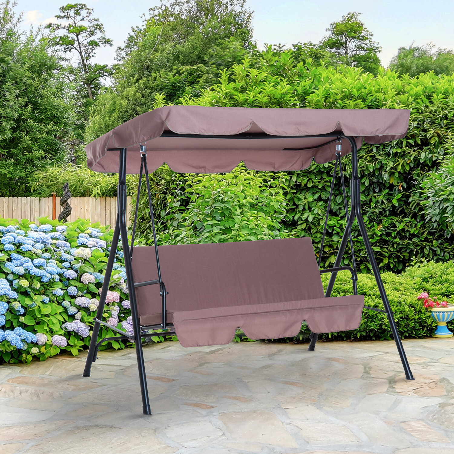 Freeport Park Higham Steel Fabric Outdoor Canopy Porch Swing Reviews Wayfair