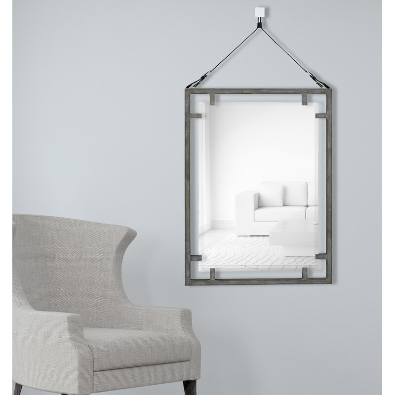 Majestic Mirror Hanging Wood Framed Beveled Glass Wall Mirror   Wayfair