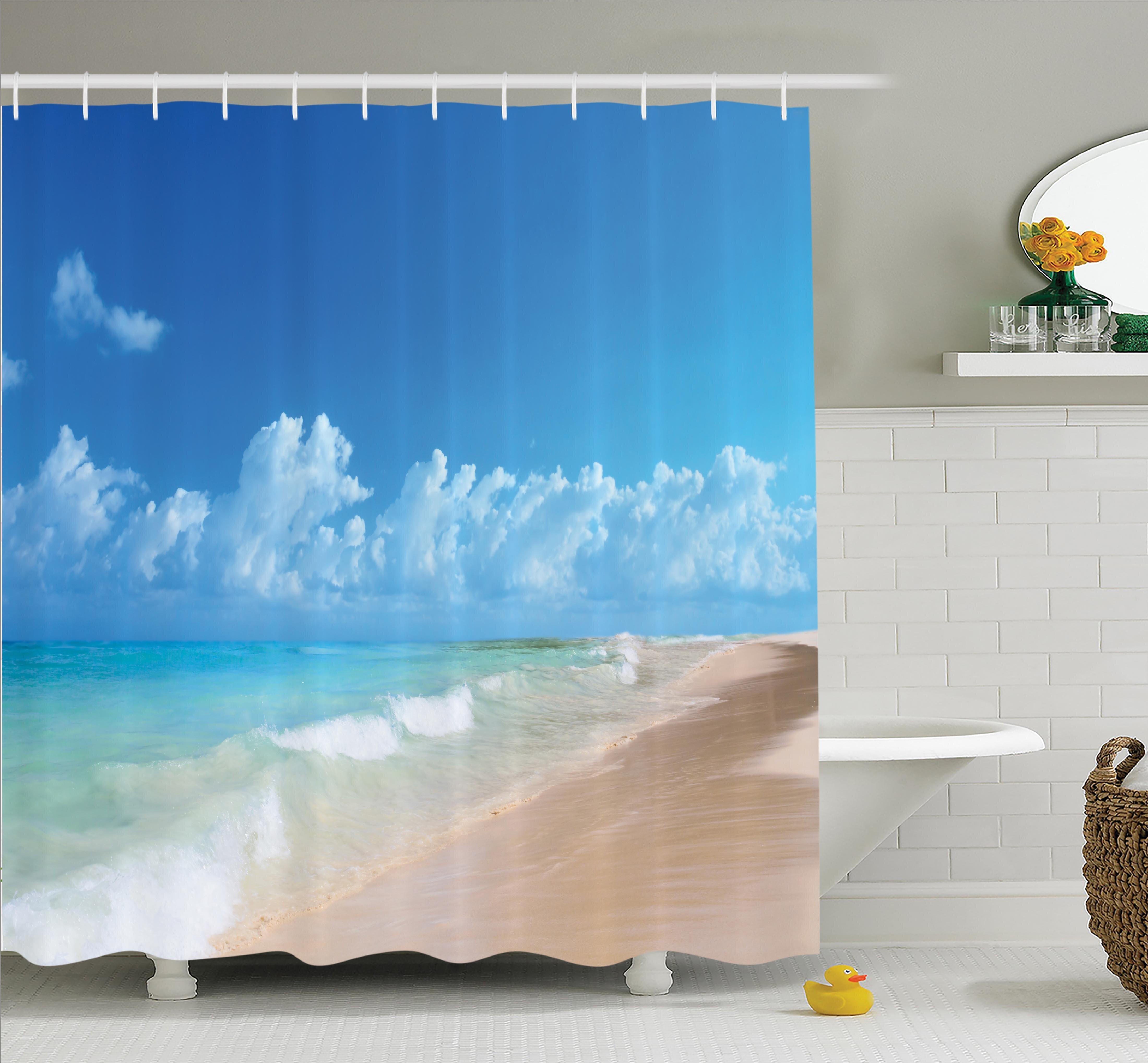 Ambesonne Nautical Tropical Ocean Waves Shower Curtain Set & Reviews ...