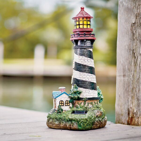 breakwater bay groton solar powered garden lighthouse decorative lantern reviews wayfair - Garden Lighthouse