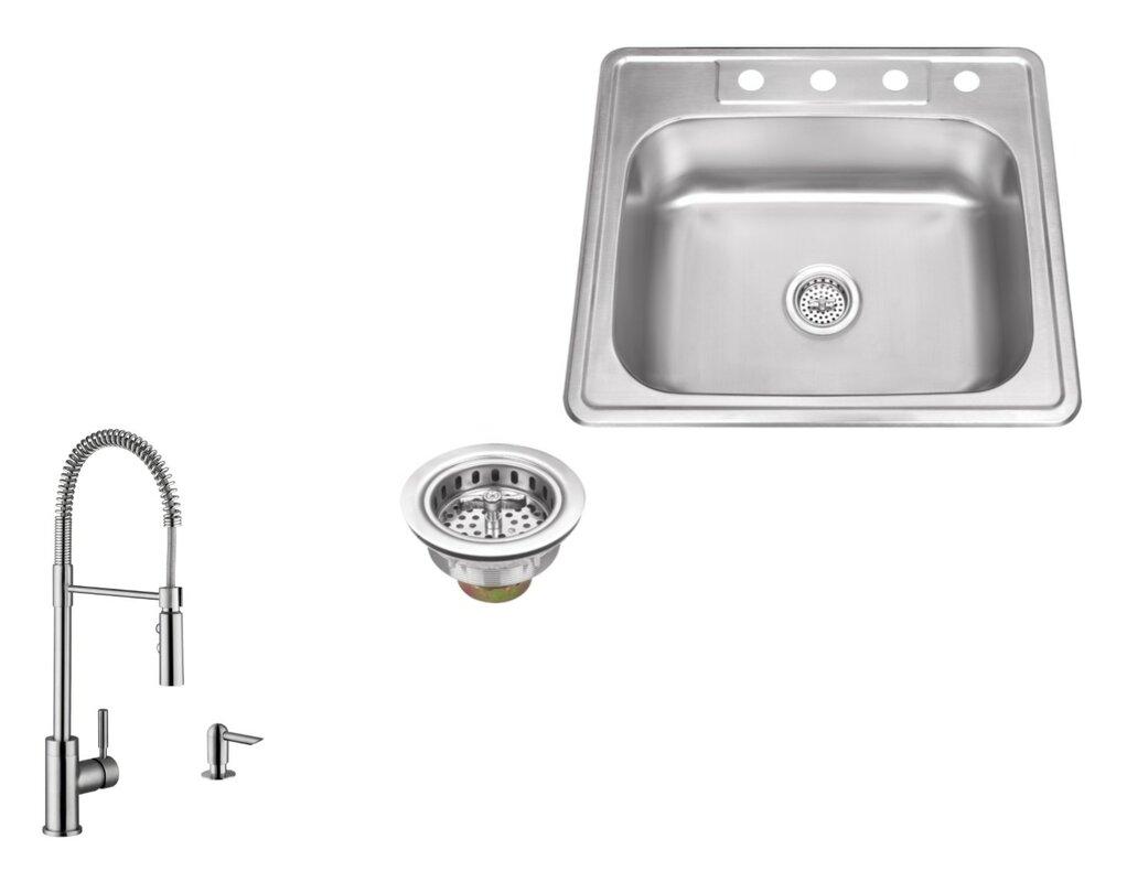 20 gauge stainless steel 25   x 22   drop in kitchen sink with pull soleil 20 gauge stainless steel 25   x 22   drop in kitchen sink      rh   wayfair com