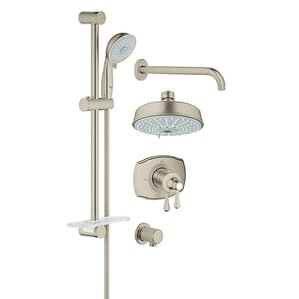 bathtub and shower faucet combo. GrohFlex Thermostatic Tub and Shower Faucet Brushed Nickel Faucets You ll Love  Wayfair