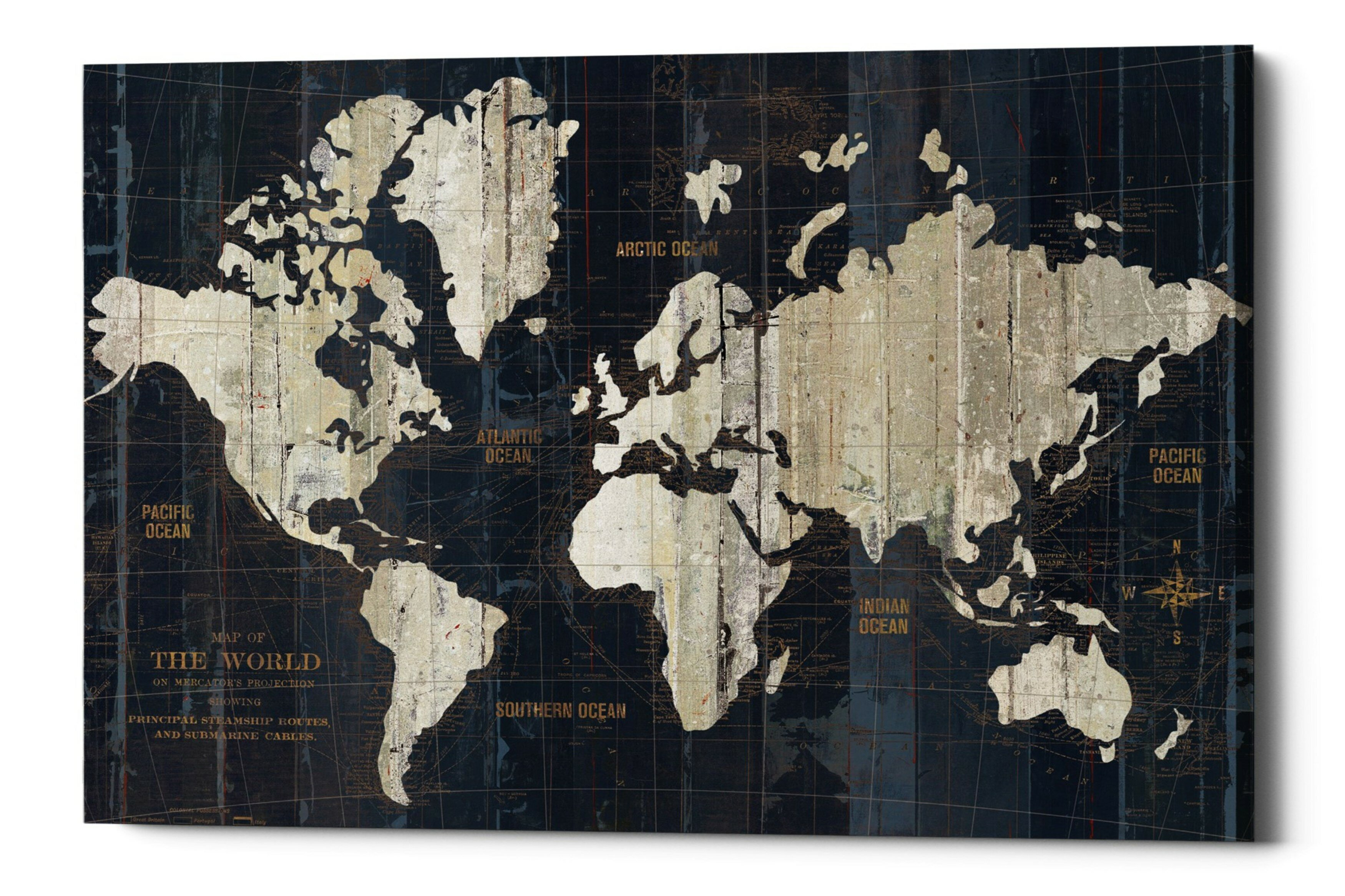 Williston Forge Old World Map Framed Graphic Art Print On Canvas