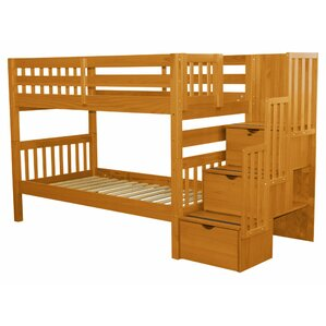 stairway twin over twin bed with storage