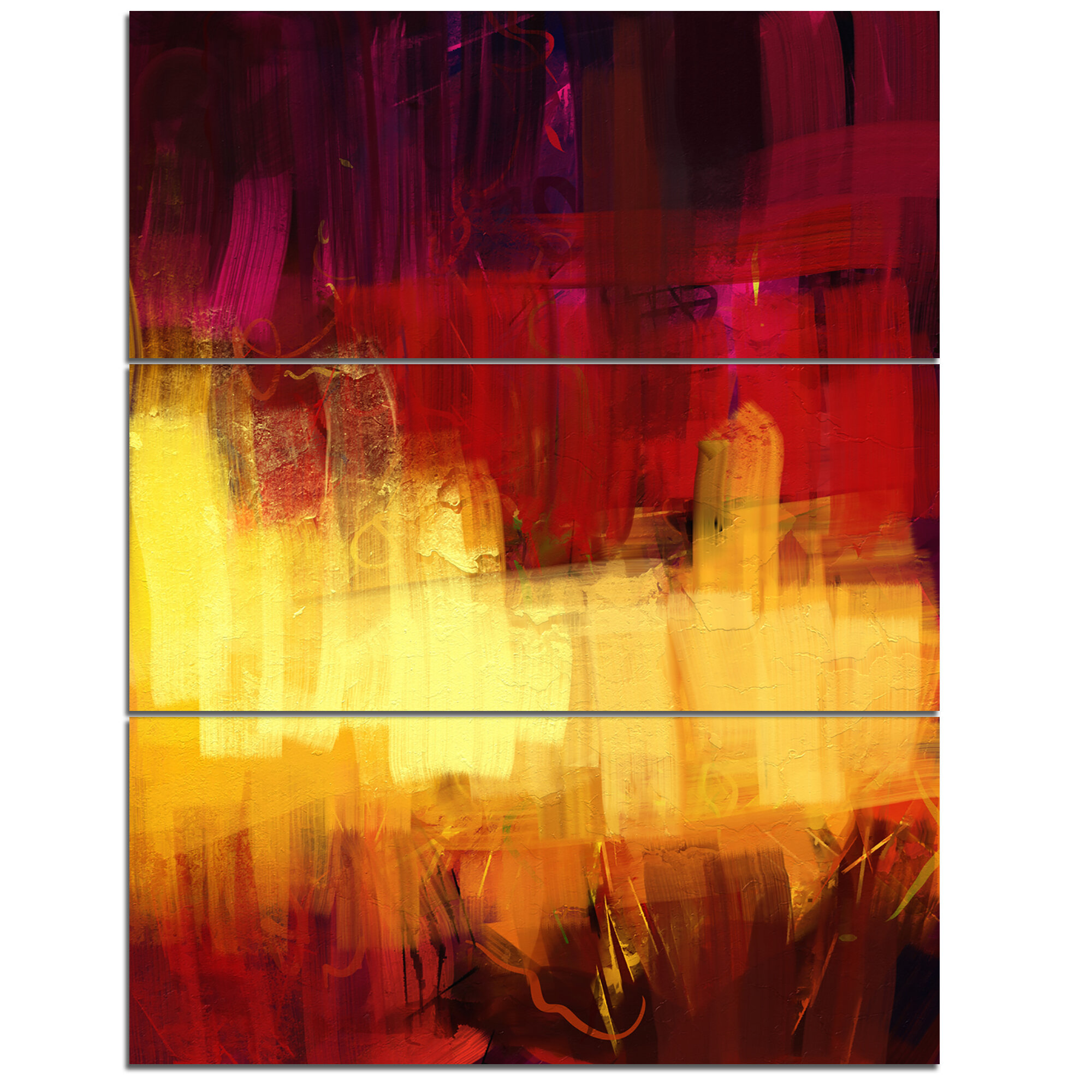 DesignArt Textured Digital Abstract - 3 Piece Wall Art on Wrapped ...