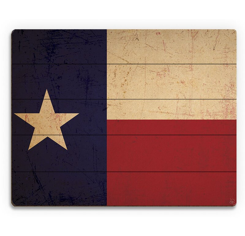 Texas Flag Vintage Graphic Art On Plaque