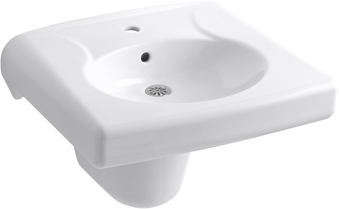Perfect Brenham™ Wall Mounted Or Concealed Carrier Arm Mounted Commercial Bathroom  Sink With Single Faucet