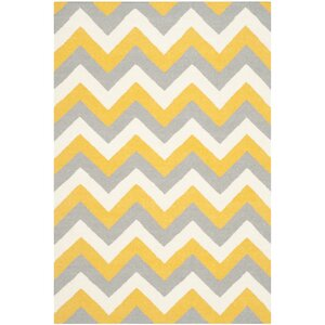 Dhurries Hand-Woven Cotton Chevron Area Rug