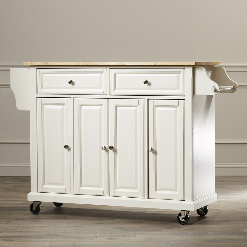 Comte Kitchen Cart Island With Natural Wood Top