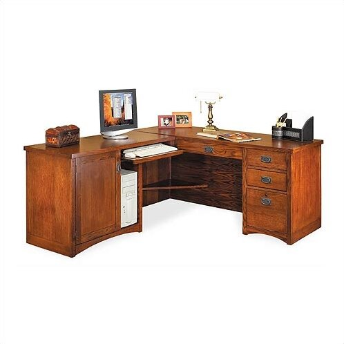 Mission Pasadena L Shape Computer Desk With Hutch