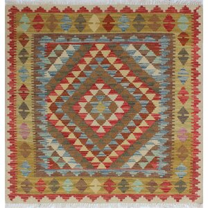 One-of-a-Kind Vallejo Kilim Mukaddes Hand-Woven Wool Blue Area Rug