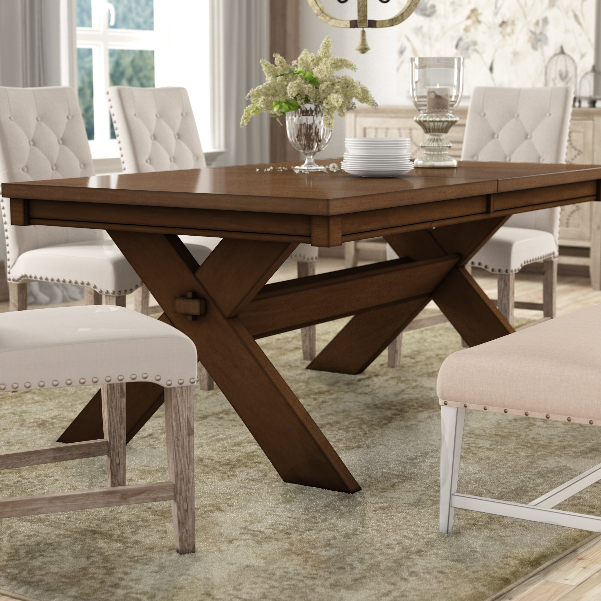 Merveilleux Isabell Acacia Butterfly Leaf Extendable Solid Wood Dining Table
