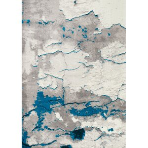 Julee Cracked Surface Gray/Blue Area Rug