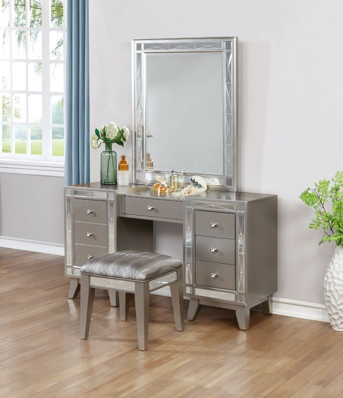Willa Arlo Interiors Alessia Vanity Set  Reviews Wayfair - Mirrored makeup vanity set