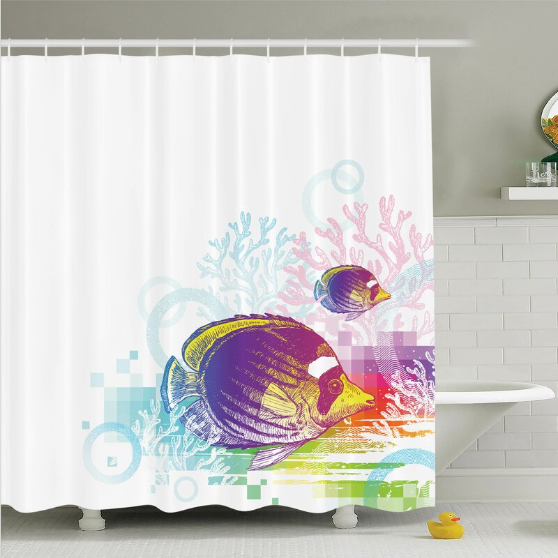 Ambesonne Fish Sea Animals Kids Shower Curtain Set   Wayfair