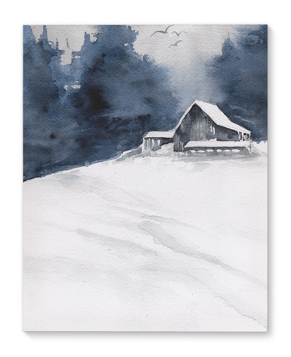 'Gray Barn' Painting Print on Canvas in Green/White