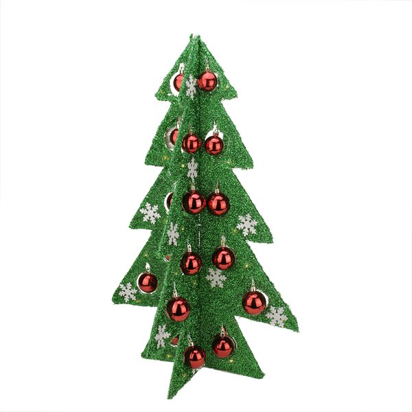 northlight battery operated decorated tinsel led lighted christmas tree table top decoration wayfair - Tinsel Christmas Decorations