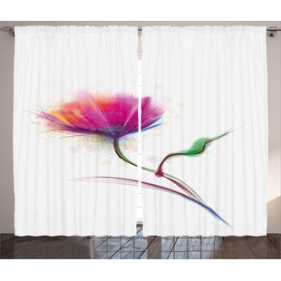 Bittner Watercolor Flower Home Graphic Print And Text Semi Sheer Rod Pocket Curtain Panels Set Of 2
