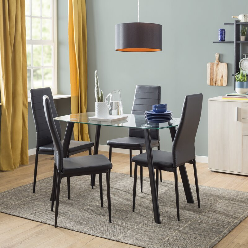 Riley Ave Hillary Dining Set With 4 Chairs Reviews