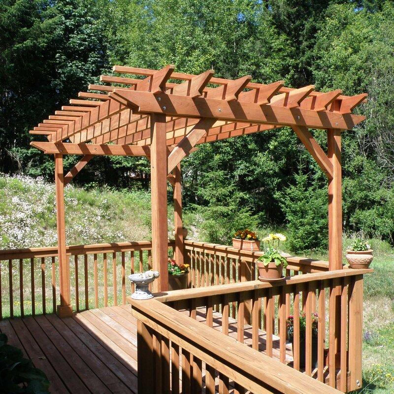 Best Redwood 10 Ft. W Solid Wood Pergola  Finish: Clear, Size: 12 H x 10 W x 10 D