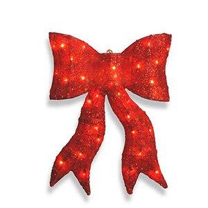 Sparkling Whimsical Sisal Bow Christmas Decoration Lighted Display