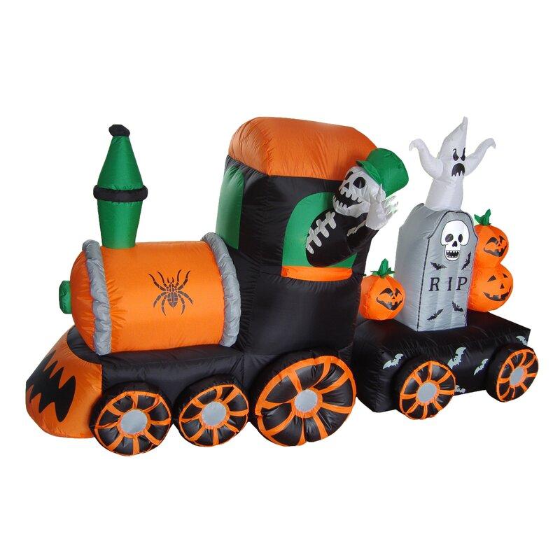 The Holiday Aisle Halloween Inflatable Skeleton On Train