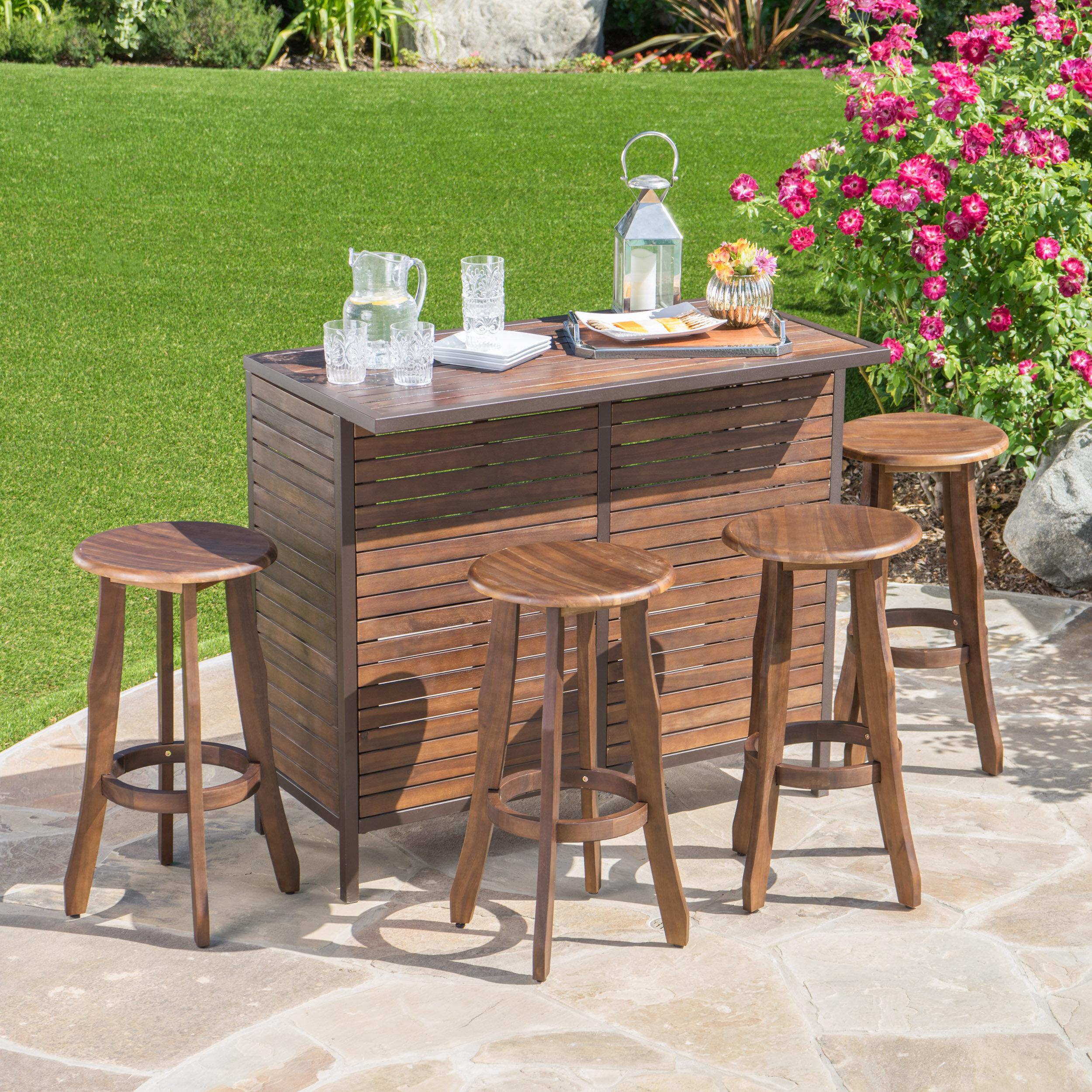 Loon peak rockridge outdoor acacia wood 5 piece home bar set wayfair