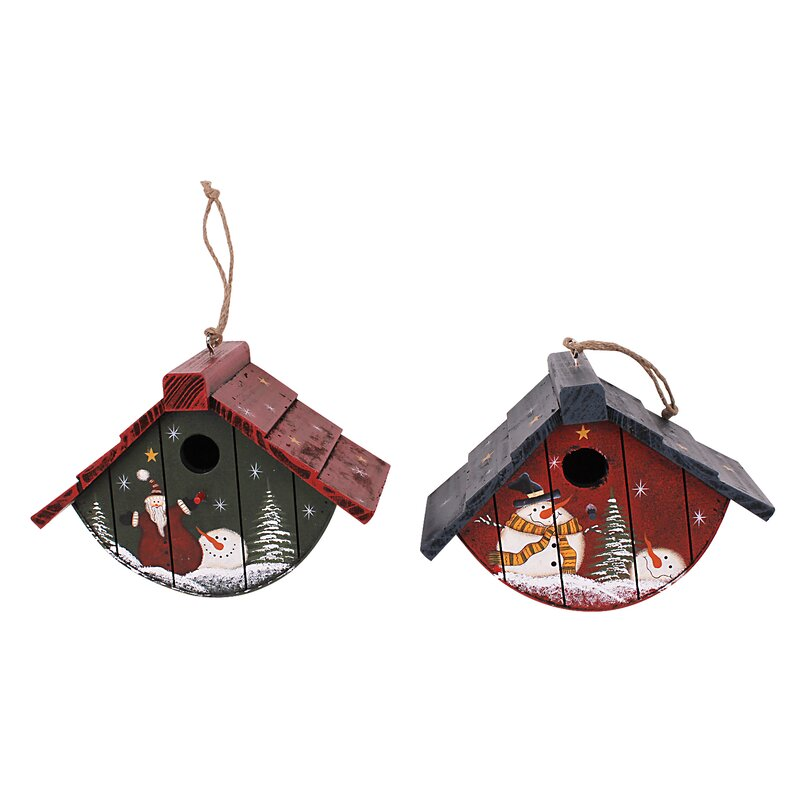 christmas gift holiday 2 piece hand painted birdhouse christmas decoration set - Bird House Christmas Decoration