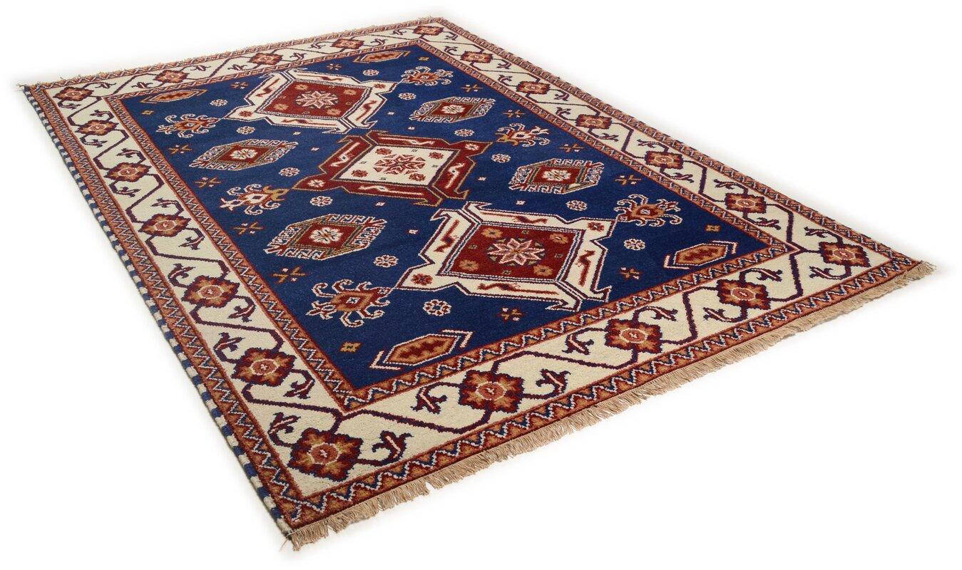 theko handgefertigter teppich classic aus wolle in blau bewertungen. Black Bedroom Furniture Sets. Home Design Ideas