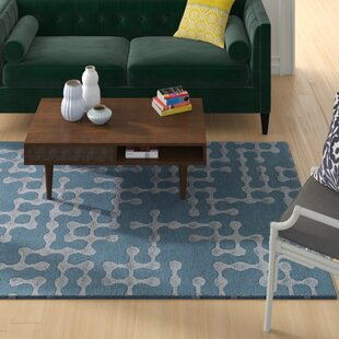 Serpentis Hand-Hooked Bright Blue/Sage Area Rug ByWrought Studio
