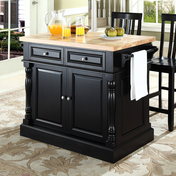 Haslingden Kitchen Island Set with Butcher Block Top
