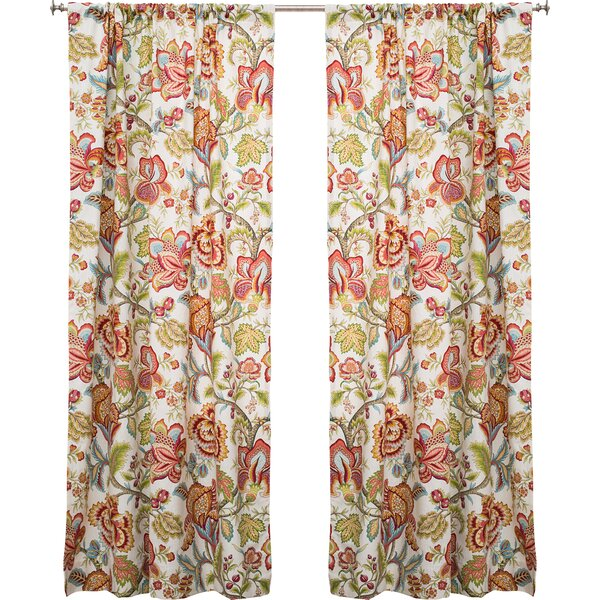 The Pillow Collection Jacobean Nature Floral Semi Sheer Rod Pocket Single Curtain Panel Reviews