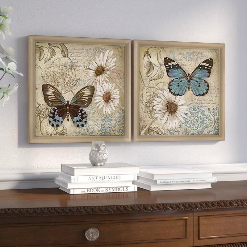 U0027Butterfly Garden IIu0027 2 Piece Framed Acrylic Painting Print Set On Glass. U0027