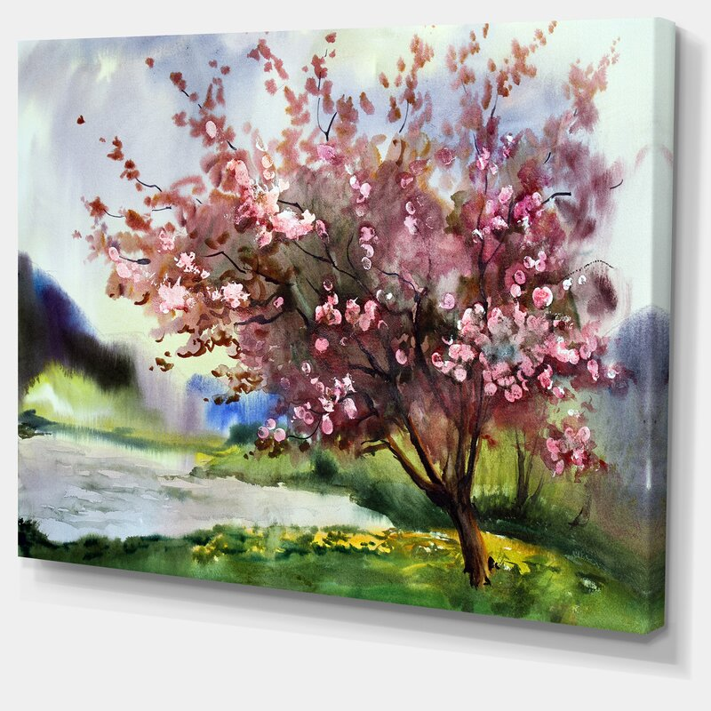 Designart tree with spring flowers painting print on wrapped canvas tree with spring flowers painting print on wrapped canvas mightylinksfo