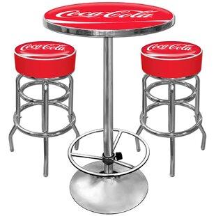 Coca Cola Ultimate Gameroom 3 Piece Bar Stool Table Set