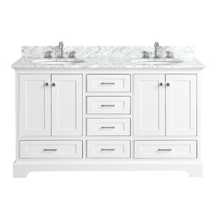double sink vanity white. Harper 60  Double Bathroom Vanity Set Vanities You ll Love Wayfair