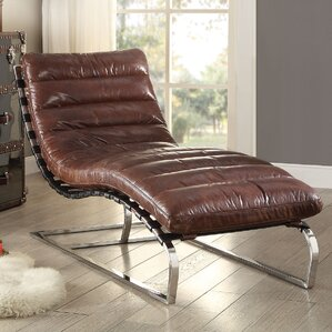 Qortini Leather Chaise Lounge by A&J Homes Studio