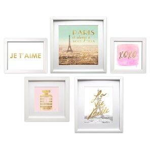'Je T'aime Paris Collage' 5 Piece Framed Graphic Art Set