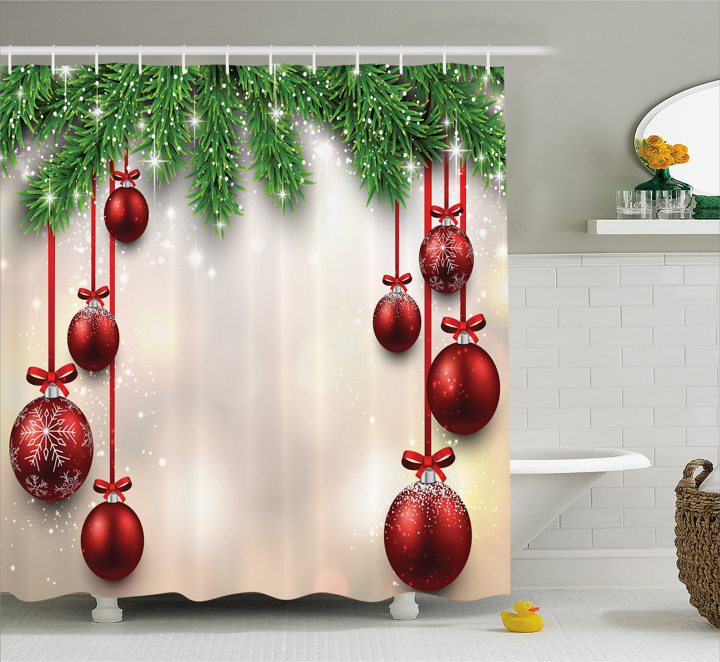 The Holiday Aisle Christmas Red Balls Ribbons Shower Curtain Reviews
