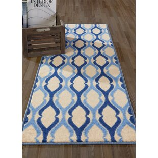 Anne Moroccan Trellis Ivory Blue Area Rug
