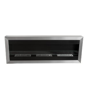 Square XL II Stainless Steel Ventless Wall Mounted Ethanol Fireplace with ..