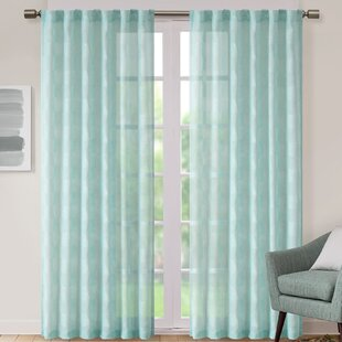 Eleanor Jacquard Geometric Sheer Tab Top Single Curtain Panel