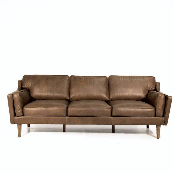 Union Rustic Kaufman Mid Century Modern Leather Sofa ...