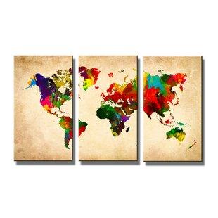 U0027World Mapu0027 Multipiece Image Graphic Art Print On Canvas
