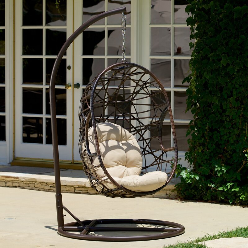 adelia egg-shaped outdoor swing chair with stand & reviews | birch